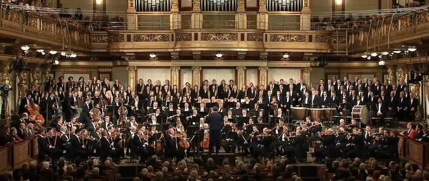 Vienna Philharmonic Orchestra plays Beethoven's Symphony No 9 in D minor Op 125.