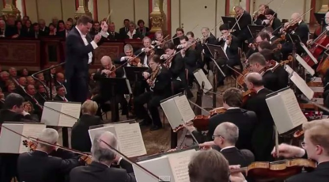 The Vienna Philharmonic orchestra plays the Overture of Ludwig van Beethoven's Egmont, Op. 84