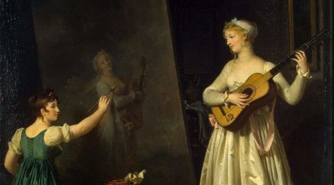 Marguerite Gérard – Painter when painting a portrait of a lute player