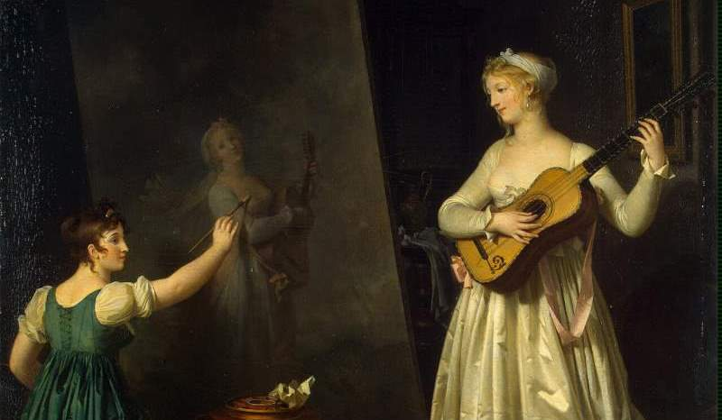 """Painter when painting a portrait of a lute player"" by Marguerite Gérard (featured)"