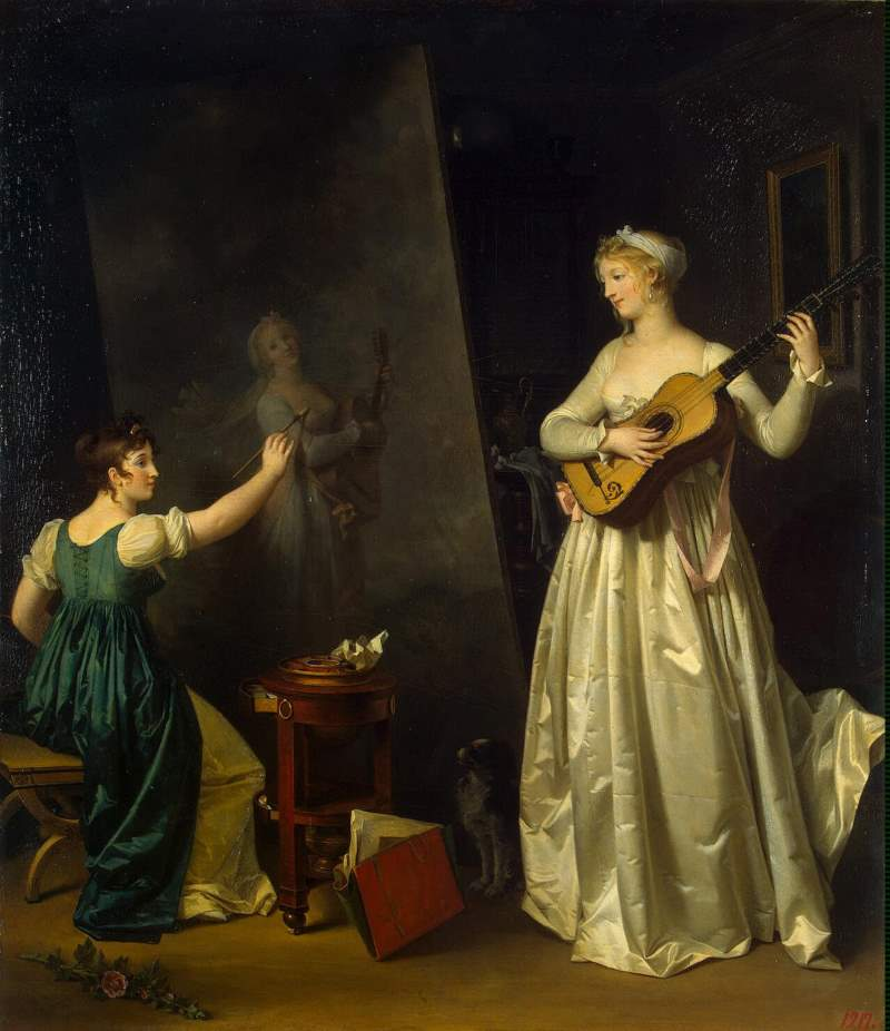 """Painter when painting a portrait of a lute player"" by Marguerite Gérard"