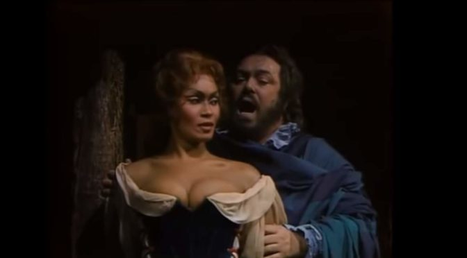 Sutherland, Jones, Pavarotti and Nucci perform Bella figlia dell'amore (Verdi)